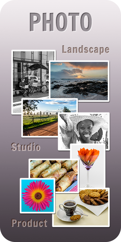 Front Page: Photography, Studio, Product, Landscape, and Macro.